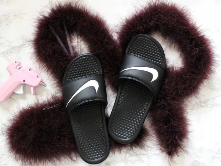 7d91a214f16d DIY Nike Fluffy Faux Slides – Trish Uy